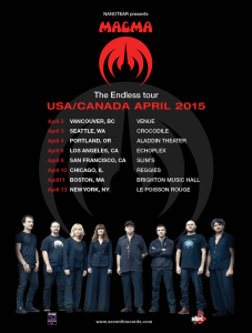 Magma USA spring 2015 tour poster